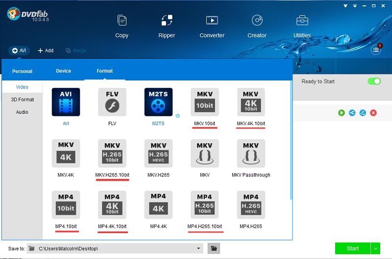 DVDFab Technology | 10-Bit Conversion Profile