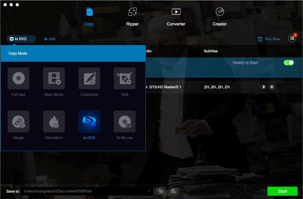 DVDFab Blu-ray to DVD Converter for Mac full screenshot