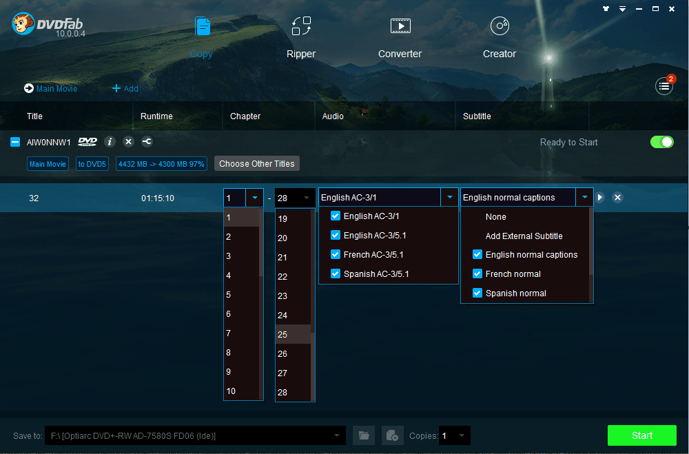 DVDFab Copy Suite full screenshot