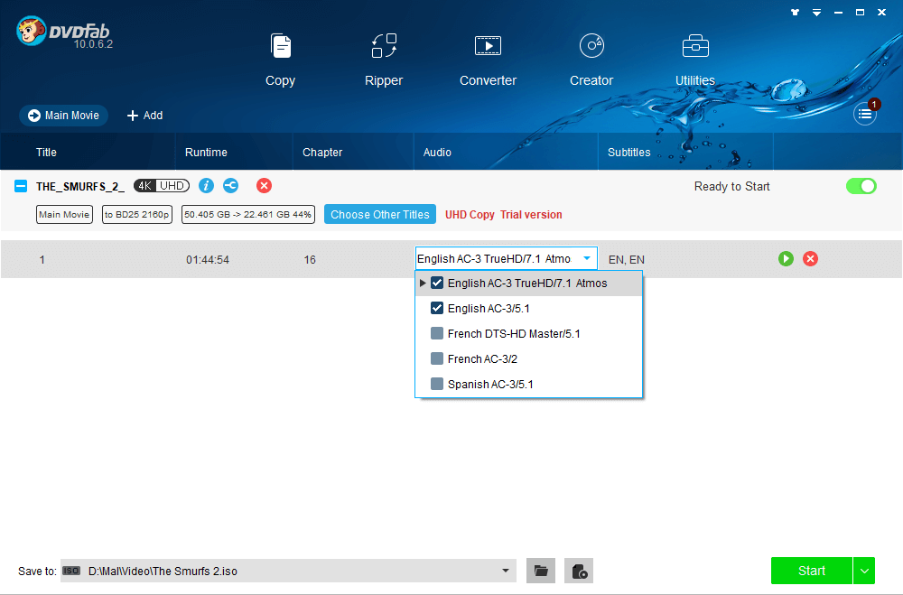 dvdfab uhd copy screenshot 1