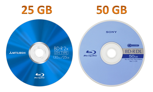 a blank 25gb/50gb blu-ray disc