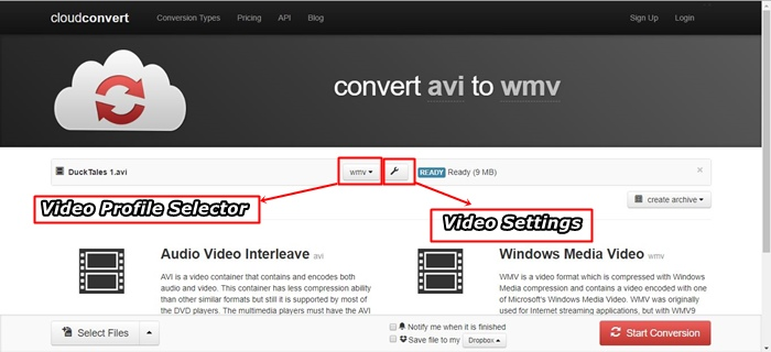 convert avi to wmv online