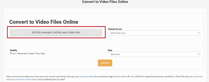 convert mkv to avi online