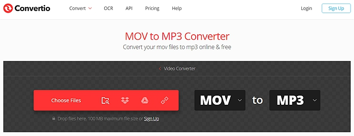 Convert mov to mp3 online with Convertio