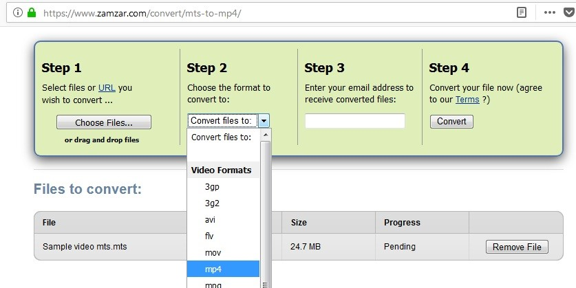 convert mts to mp4