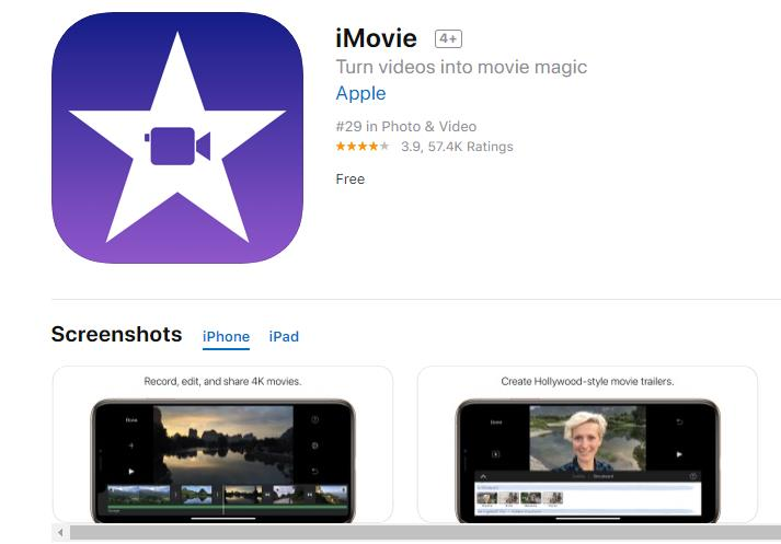 Apple's free built-in fast motion video editor for iOS users.