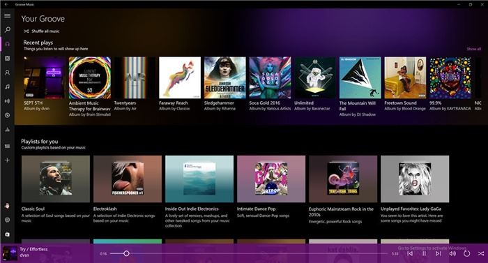 groove music player is a basic music player