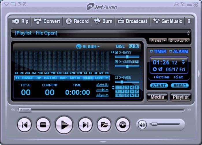 JetAudio is a shareware music player