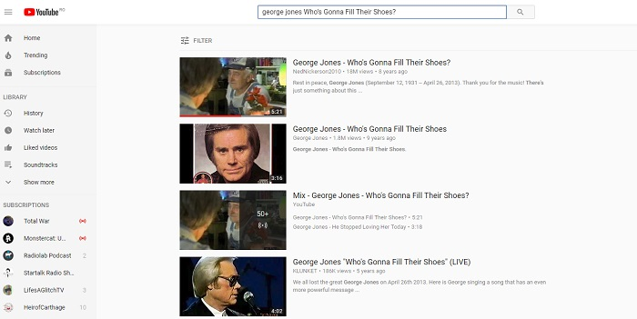 Top 10 Country Music Songs by George Jones on YouTube
