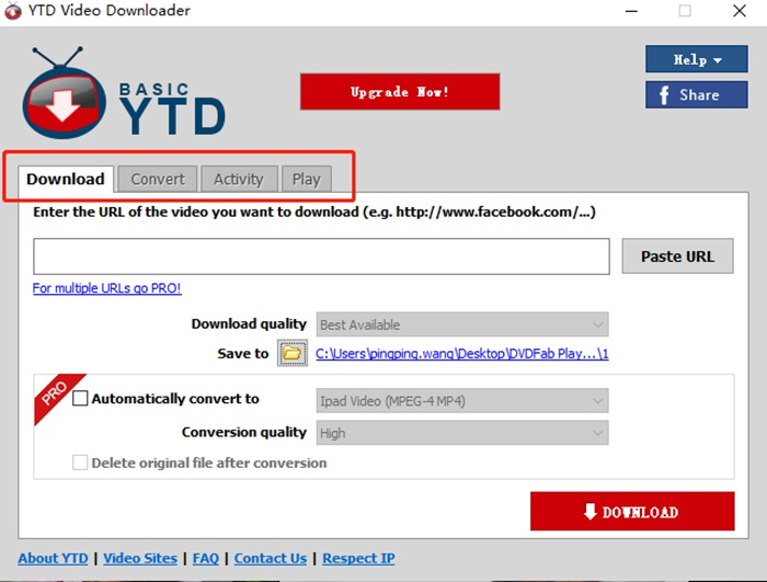 Interface introduction of free download YTD YouTube downloader for android