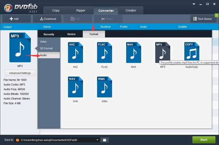 Convert a video file into audio file