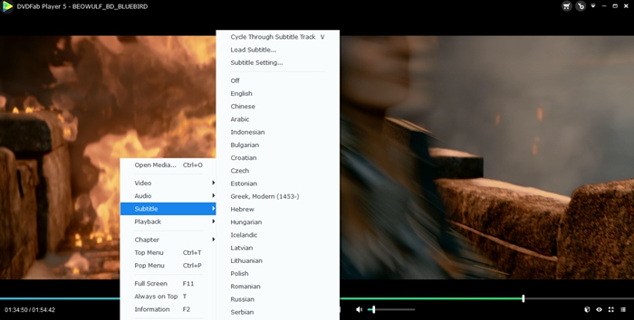 Add subtitle and preview the video chapter with this H.265 player