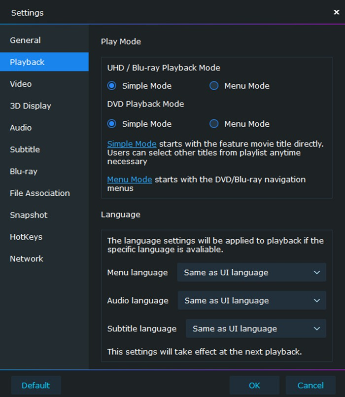 Playback modes for you to choose when using this best video player