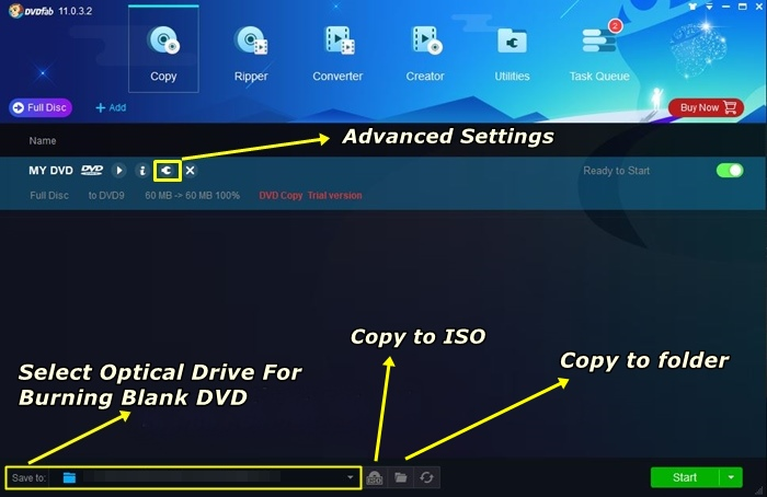 click the advanced settings to customize dvd settings of the best dvd copy software