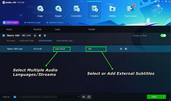 Choose Audio Language And Add External Subtitle with This UHD Creator