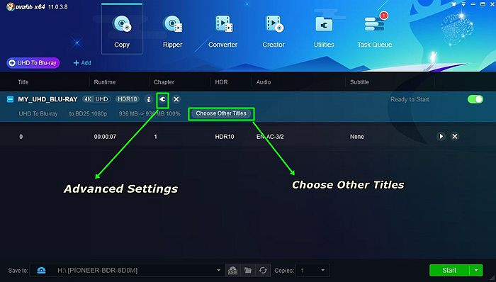 Use The Wrench Icon for Settings And Choose Preferred Title When You Convert 4K UHD Blu-ray to Blu-ray