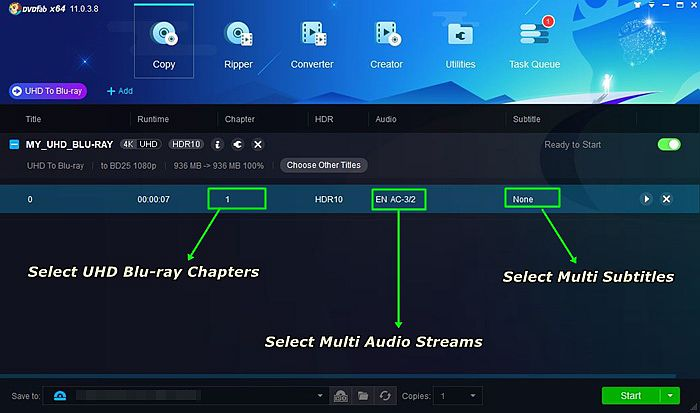 How to Select UHD Blu-ray Chapter, Multi Audio Streams And Subtitles When You Convert 4K UHD Blu-ray to Blu-ray