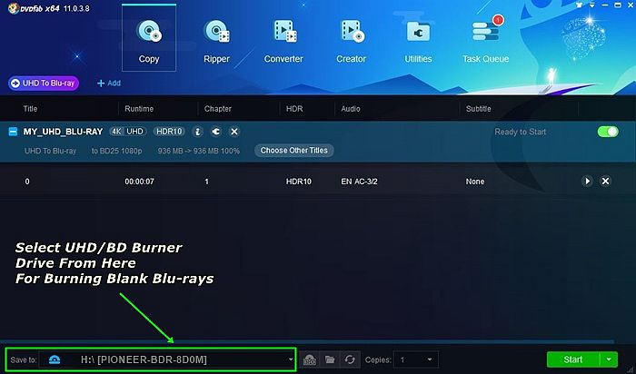Decide Output Directory Another Time When You Convert 4K UHD Blu-ray to Blu-ray