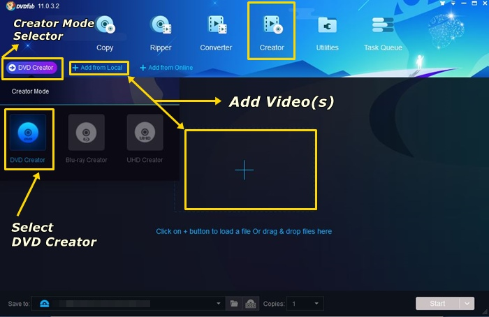 how to use DVDFab dvd creator to convert videos