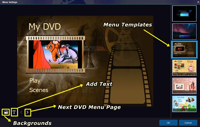 launch the DVD menu designer with menusettings