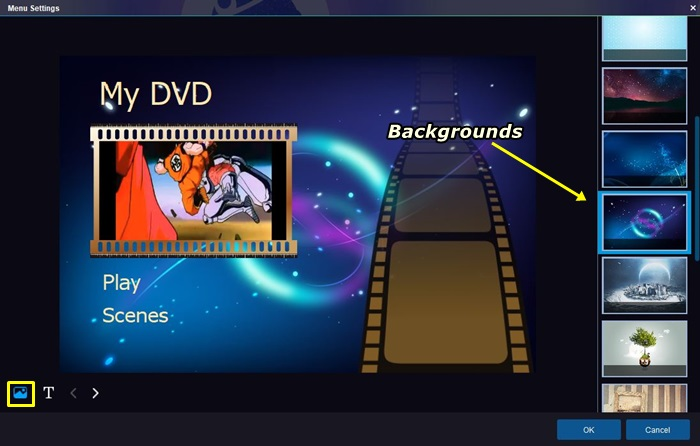 change the DVD menu backgrounds