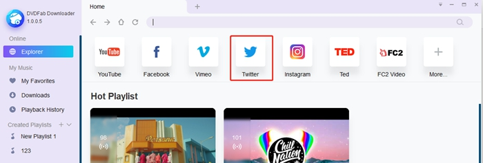 Twitter video downloader interface - twitter icon
