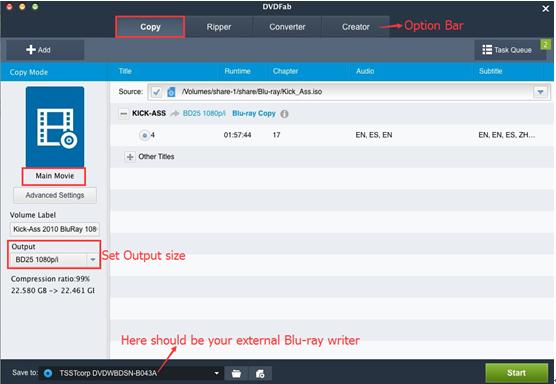DVDFab Blu-ray Copy for Mac can be used on Mac to burn Blu