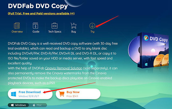 how to get the install file on the page of dvdfab dvd copy for win