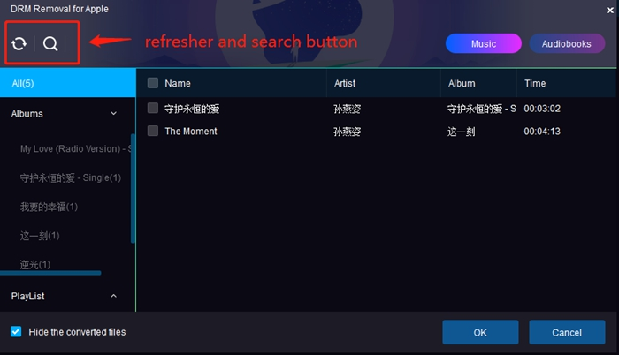 DRM Removal tool - refresher and search button